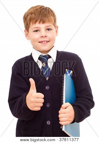 Happy Smiling School Boy Showing Thumb Up.