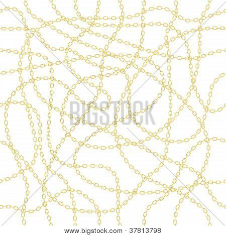 Gold chain on white seamless