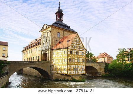 Medieval town hall on the bridge
