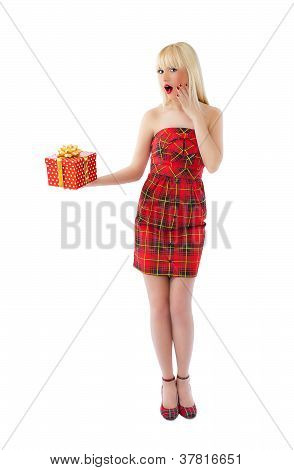 Beautiful  Blonde Model Posing In Red Dress