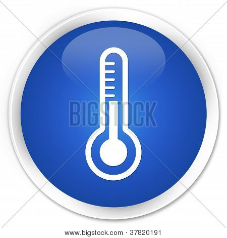 Thermometer Icon Blue Button