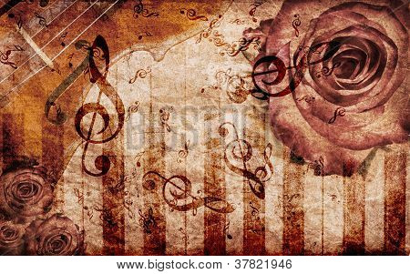 Vintage Background With Rose And Notes