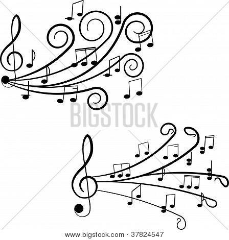 Música. Clave de sol y notas para su diseño sobre un fondo blanco.