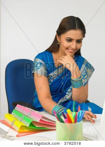 Asian Woman With Her Laptop