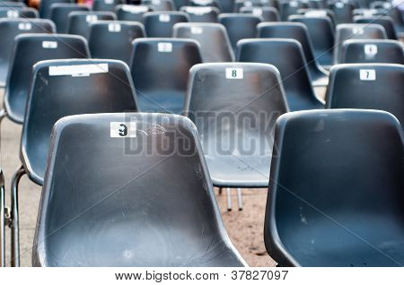 Row Of Empty Seats With Numbers