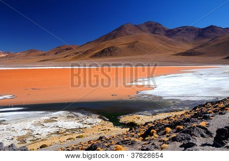 Red lake in Bolivia