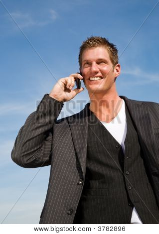 Caucasian Businessman On The Phone
