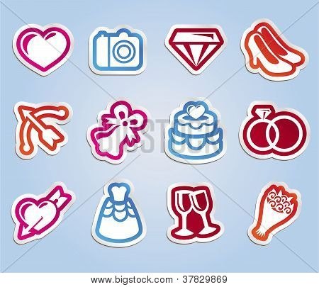Vector Wedding Sticker With Love And Romance Icons