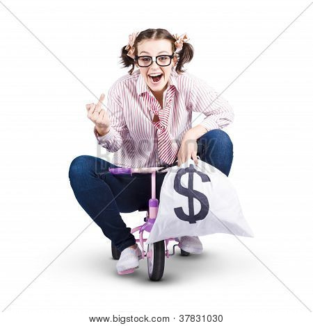 Redundant Business Girl Riding Off With Payout