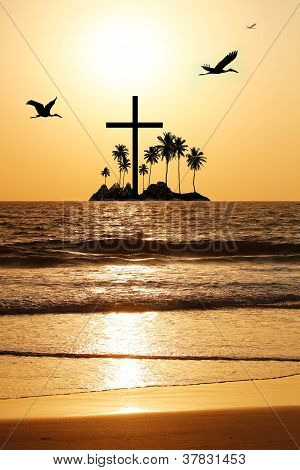 Majestic & Heavenly Seascape In The Evening With Island And A Cross In The Horizon. The Evening Sky