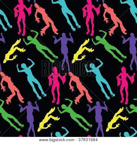 60's Disco Dancing Seamless Pattern