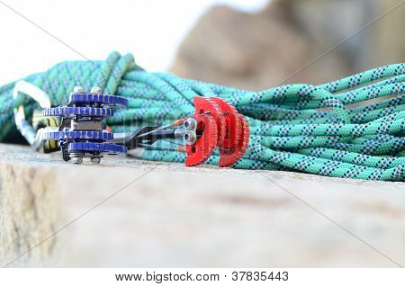 Climbing Rope And Cams