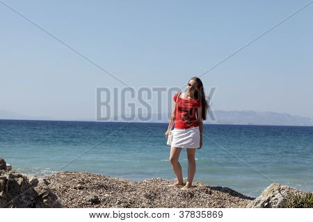 Teen Posing On Beach
