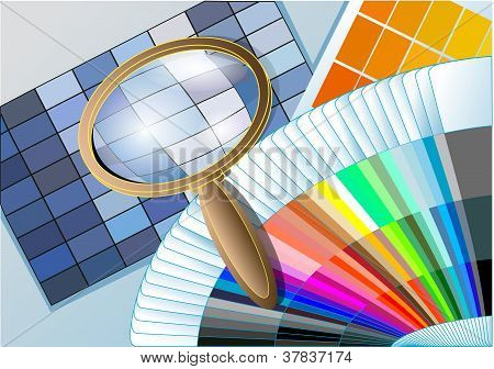 Color Table With A Magnifying Glass