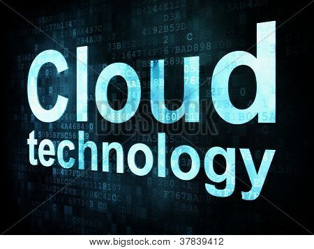 Information technology IT concept: pixelated words Cloud technol