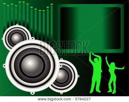 Green Musical Speakers Illustration