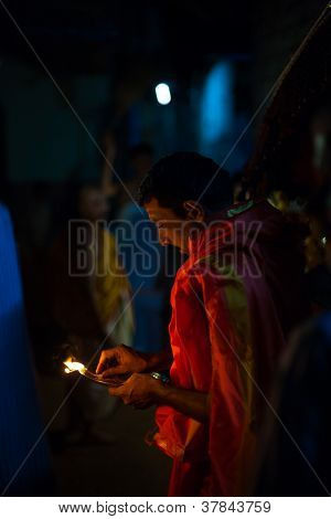 Brahmin Indian Priest Burning Incense Night