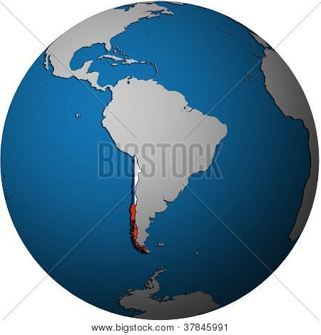 Chile Flag On Globe Map