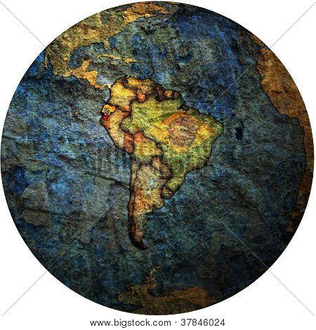 Ecuador Flag On Globe Map