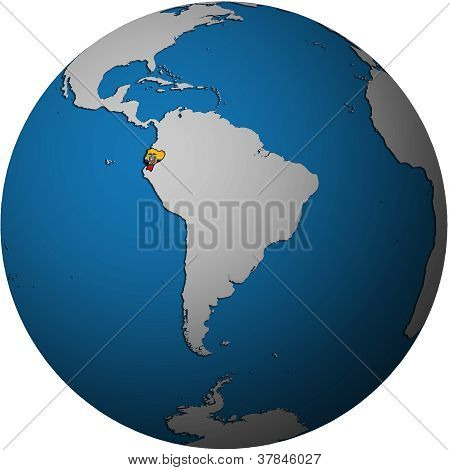 Ecuador Flag On Globe Map
