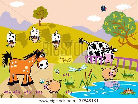 Landscape With Childish Farm Animals Evening