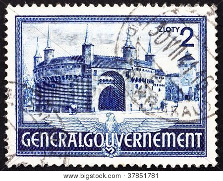 Postage stamp Poland 1941 Rondel and Florian'sGate