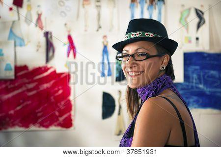 Portrait Of Happy Woman Working As Fashion Designer