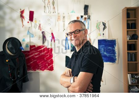 Portrait Of Happy man Working As Fashion Designer