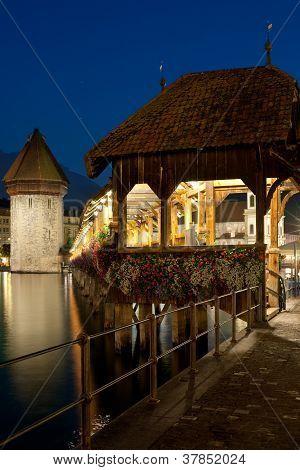 Chapel Bridge In Luzern At Night