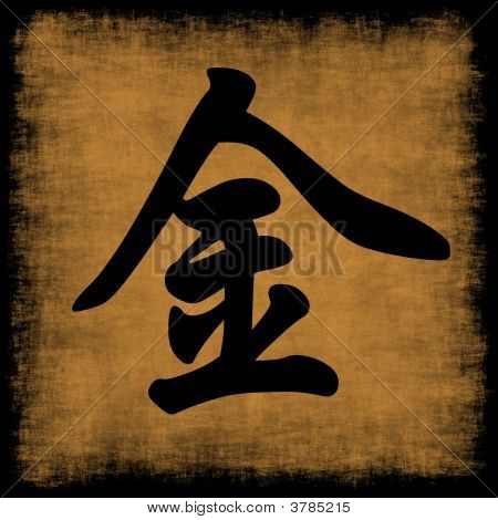 Metal Chinese Calligraphy Five Elements