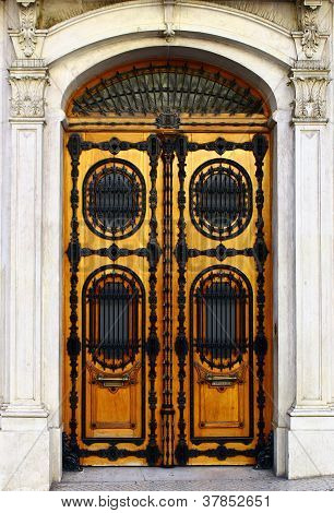 Detail of an old door at Lisbon's Downtown, Portugal