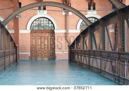 Footbridge And Wood Door