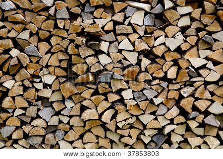 Woodpile Are Stacked From Differen Kind Types
