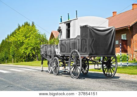 Wagon On Road Is Shaded Form Background