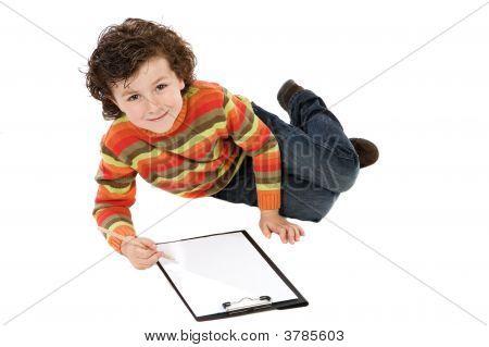 Beautiful Child Lying Down Painting