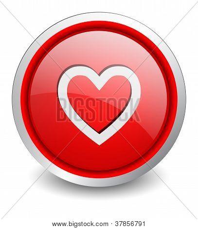 Heart red button - design web icon