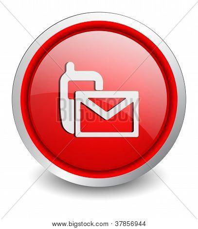 Contact red button - design web icon