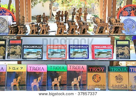 CANAKKALE,TURKEY-OCTOBER 9: Wooden Trojan Horses And Books About Historical Places
