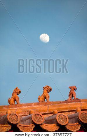 Roof figurines at the Forbidden City, Beijing