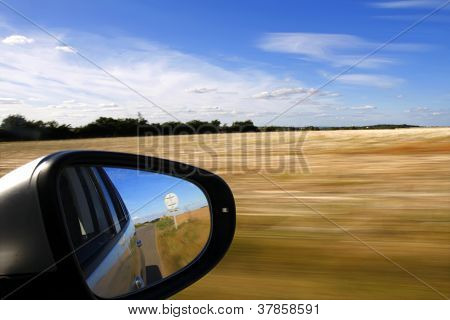 Car Mirror With Background Motion Blur