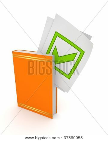 Green tick mark in orange book.