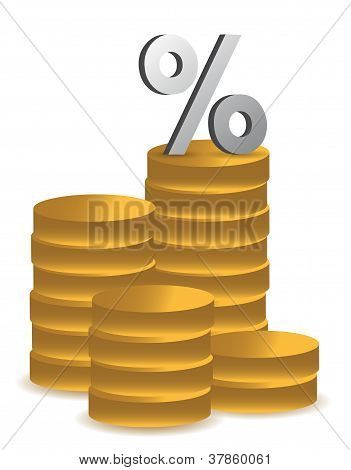 Coins And Percentage Symbol Illustration