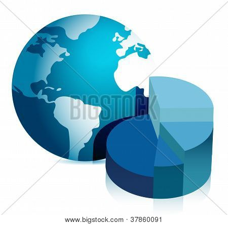 Pie Chart And Globe Illustration Design