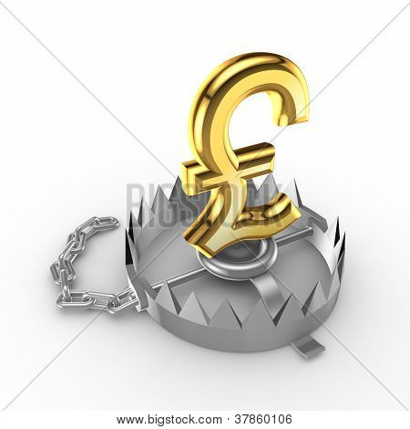 Golden pound sterling sign on a trap.