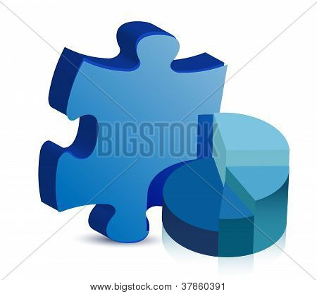 Pie Chart And Puzzle Piece Illustration