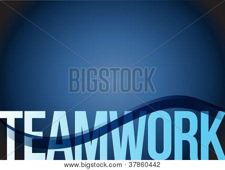 Blue Business Teamwork Wave Background