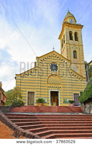 Portofino, San Martino Catholic Church Landmark. Liguria, Italy