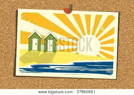 Beach Postcard On Corkboard 3.1
