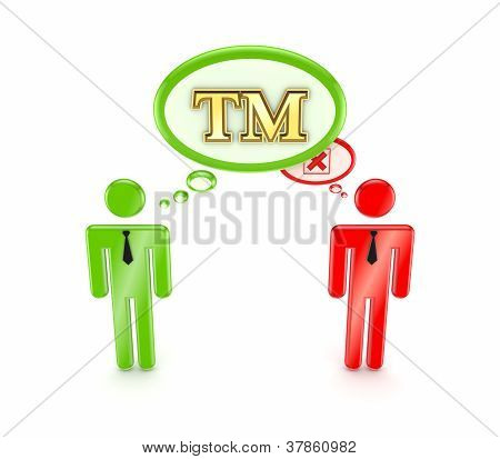 3d small people with TM symbol and red cross mark.