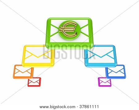 Colorful envelopes and golden euro sign.
